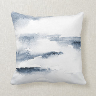 Slate Watercolor Abstract Throw Pillow