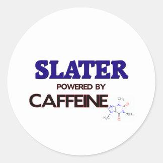 Slater powered by caffeine round stickers