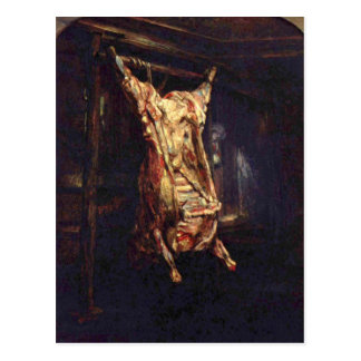 Slaughtered Ox by Rembrandt Harmenszoon van Rijn Postcard