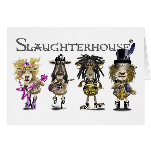 SLAUGHTERHOUSE a Heavy Metal rock band of sheep Greeting Card