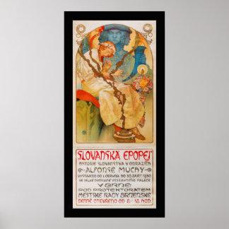 """""""Slavanska History"""" by Alfons Mucha 1928 Poster"""