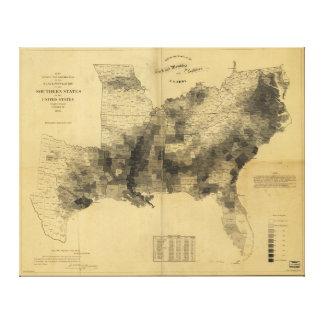 Slavery Population Map Southern States Civil War Canvas Print
