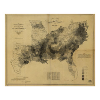 Slavery Population Map Southern States Civil War Poster
