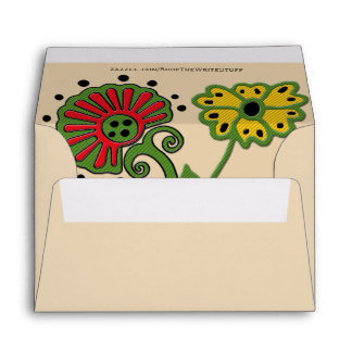 Slavic Embroidered Flowers on Tan (Personalized) Envelope