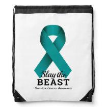 Slay The Beast Ovarian Cancer Awareness Drawstring Drawstring Bag