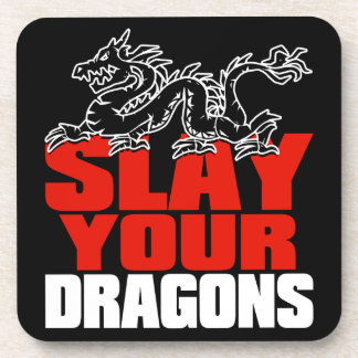 SLAY YOUR DRAGONS, gift for Jordan Peterson fans Drink Coaster
