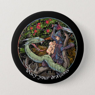 Slay your dragons, Gift for Jordan Peterson fans. Pinback Button