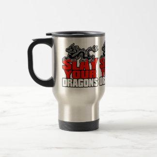 SLAY YOUR DRAGONS, gift for Jordan Peterson fans Travel Mug
