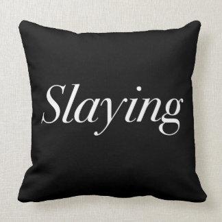 Slaying Printed Throw Pillow