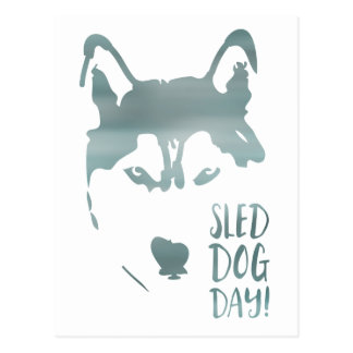 sled dog day postcard