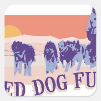 Sled Dog Fury Square Sticker