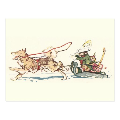Sled Dog Pulling Sleigh Postcard