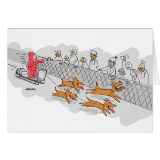 Sled Dog Race Holiday Greeting Card