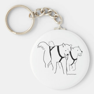 Sled Dogs in Harness Basic Round Button Keychain