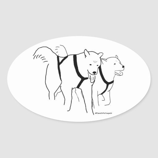 Sled Dogs in Harness Sticker