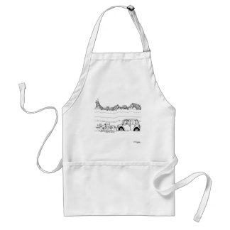 Sled Dogs Tow a Car Adult Apron