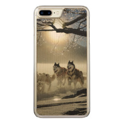 Carved Apple iPhone 7 Plus Wood Case with Siberian Husky Phone Cases design