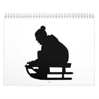 Sled Luge child Calendar