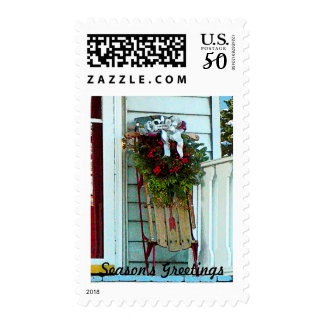 Sled on Porch Postage