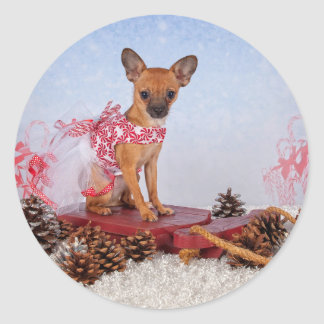 Sled Pup Classic Round Sticker