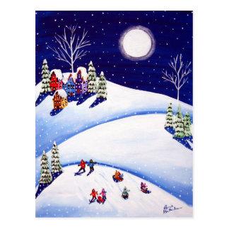 Sled Riders Under Moon Winter Folk Art Post Cards