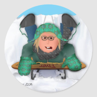 Sled Riding Classic Round Sticker