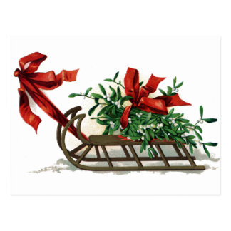 Sled with Bunch of Mistletoe Tied in Red Ribbon Postcard