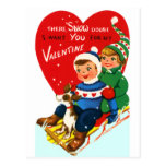 Sleddin' Valentine Postcard