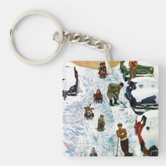 Sledding and Digging Out Double-Sided Square Acrylic Keychain