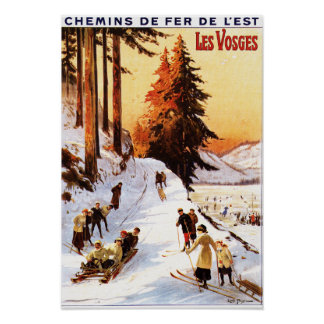 Sledding and Skiing at Vosges Poster