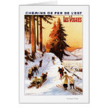 Sledding and Skiing at Vosges Poster Card