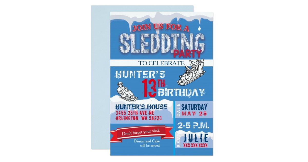 Sledding Birthday Party Invitation | Zazzle.com