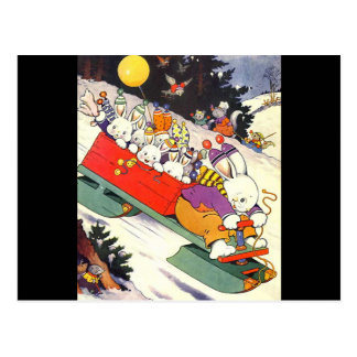 Sledding Bunnies Postcard