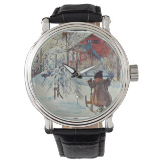 Sledding by the Wash House Wrist Watches