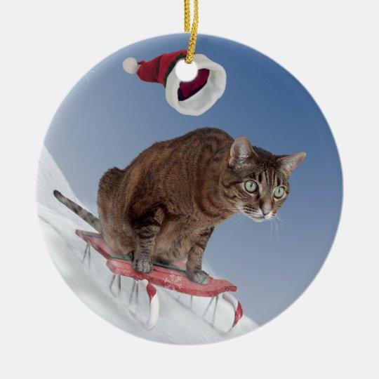 Sledding Cat Ornament