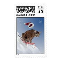 Sledding Cat Postage Stamps
