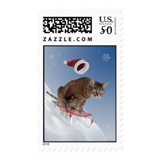Sledding Cat Postage Stamps