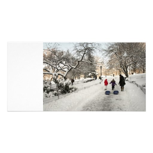 Sledding Central Park Personalized Photo Card
