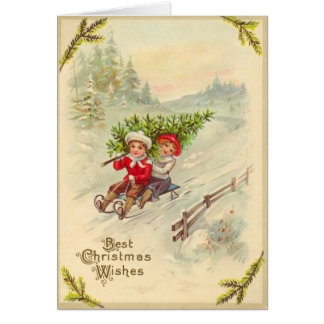 Sledding Children Vintage Christmas Card