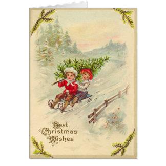 Sledding Children Vintage Christmas Card