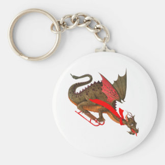 Sledding Dragon Basic Round Button Keychain