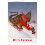 Sledding Dragon Christmas Cards