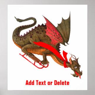 Sledding Dragon Poster