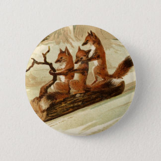 Sledding Foxes Button