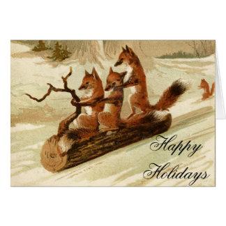 Sledding Foxes Vintage Christmas Card