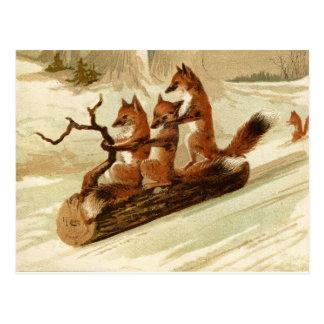 Sledding Foxes Vintage Christmas Postcard