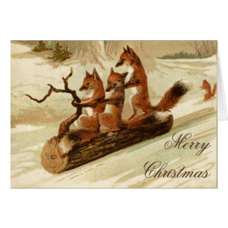 Sledding Foxes Vintage Merry Christmas Card