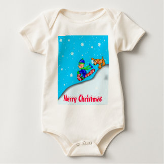 Sledding Fun, Merry Christmas Baby Bodysuit