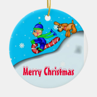 Sledding Fun Merry Christmas Christmas Ornaments