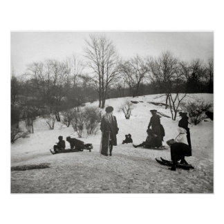 Sledding in Central Park, 1906 Poster